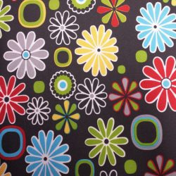 tkanina poliester drukowana kwiaty